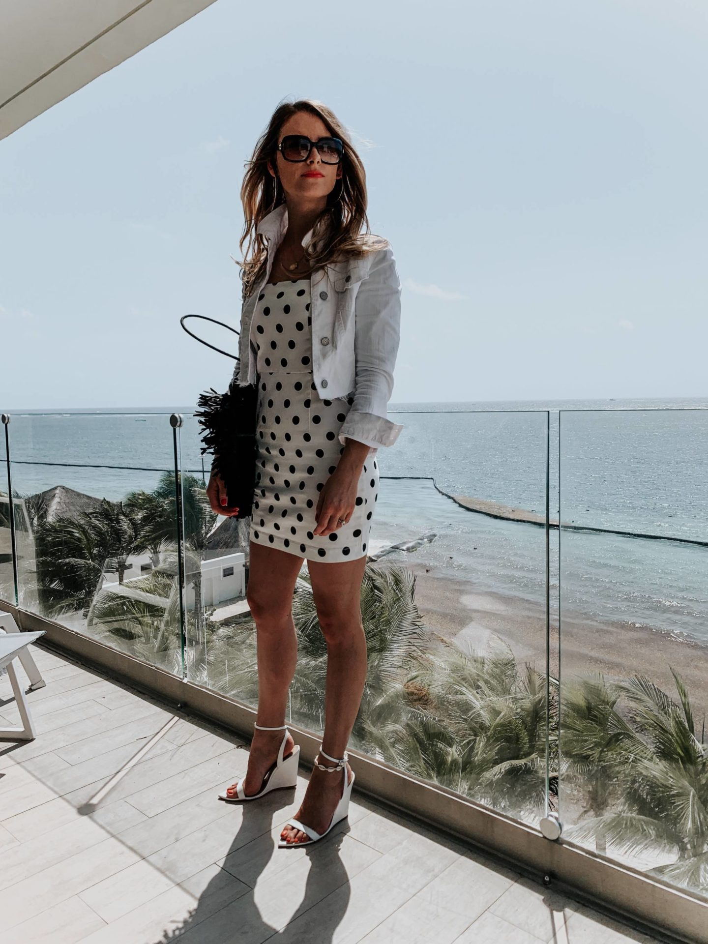 8a591a91ed3 O U T F I T D E T A I L S : POLKA DOT DRESS (AMERICAN VERSION, LOVE THIS  ONE, ANOTHER CUTE OPTION) | DIY CROPPED DENIM JACKET (LOVE THIS ONE) | H&M  EARRINGS ...
