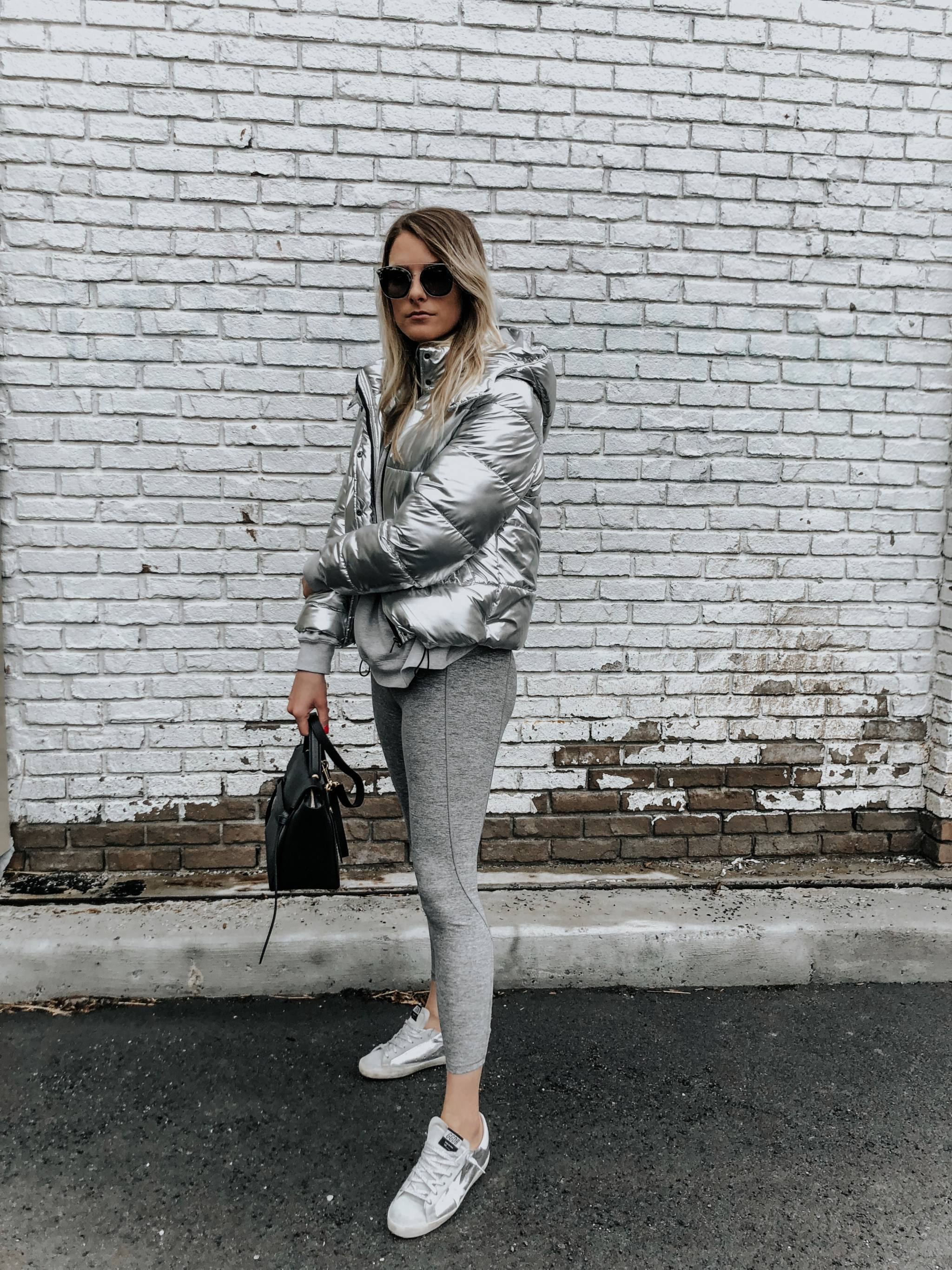 Silver Parka And All Grey Outfit Life With Aco Golden Goose Celine Micro Belt Bag Outfit Life With A Co By Amanda L Conquer