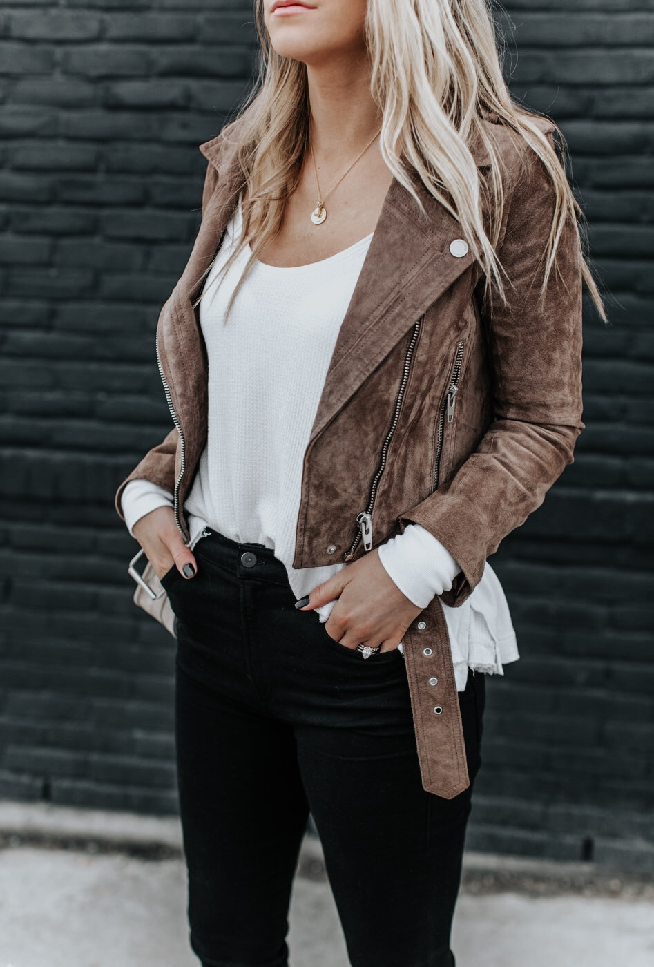 1 blonde woman wearing suede jacket for nordstrom anniversary sale 2019