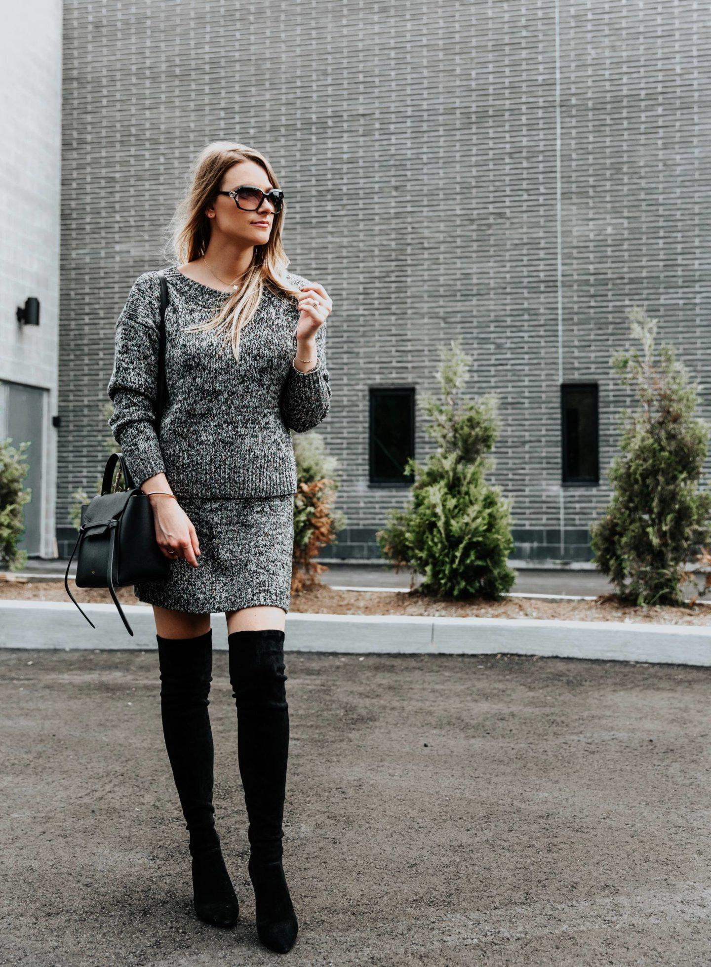 fashion blogger in fall outfit, otk boots outfit