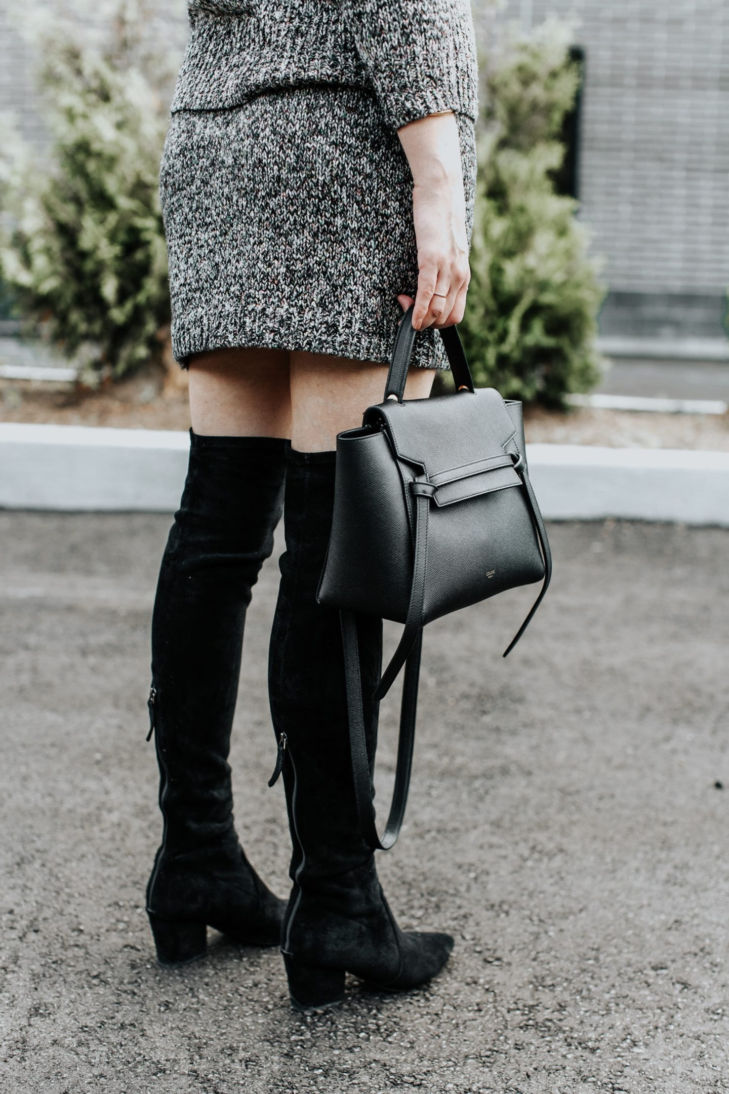 over the knee boots outfit and celine belt bag