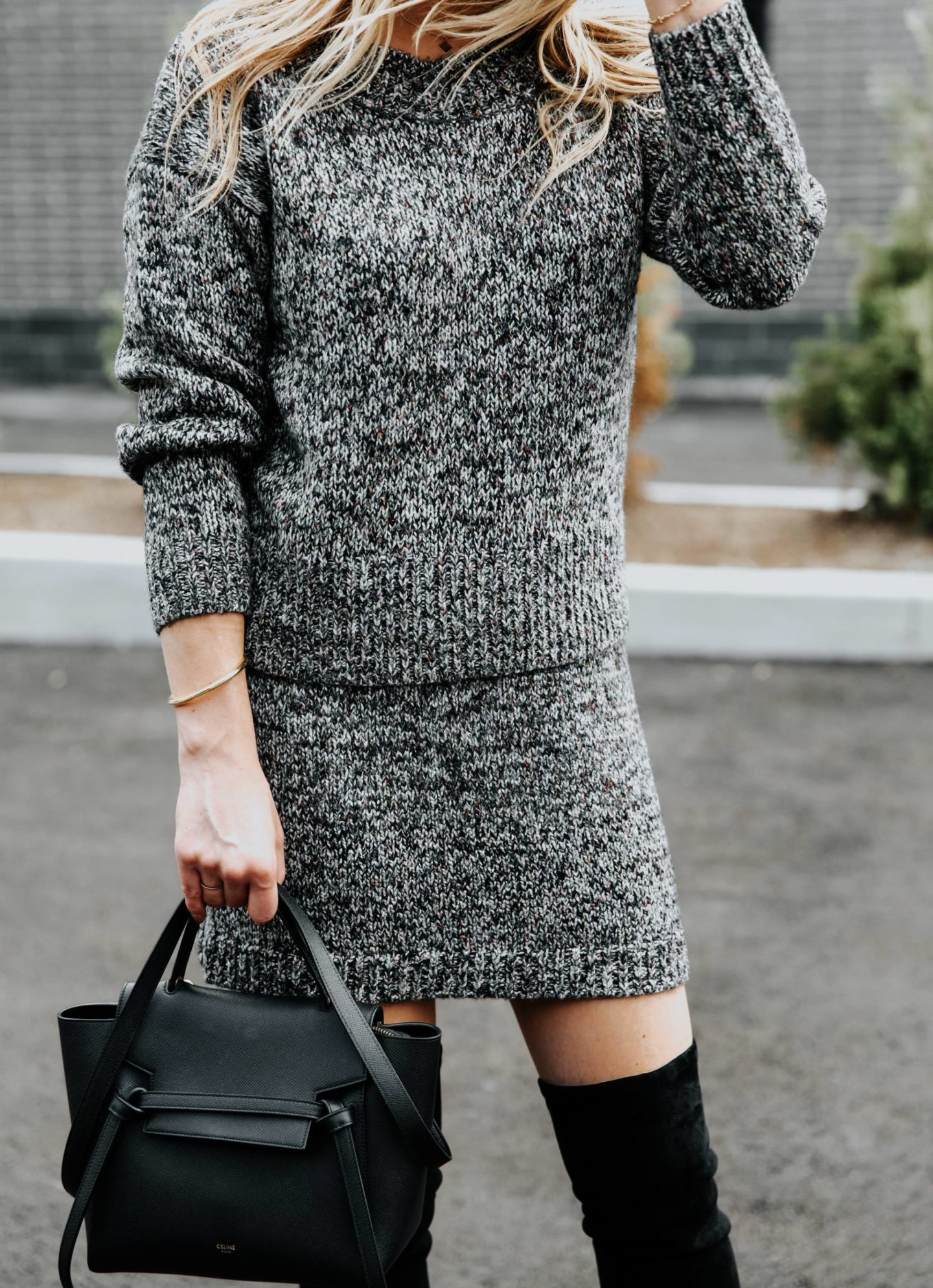matching sweater and skirt set with celine belt bag